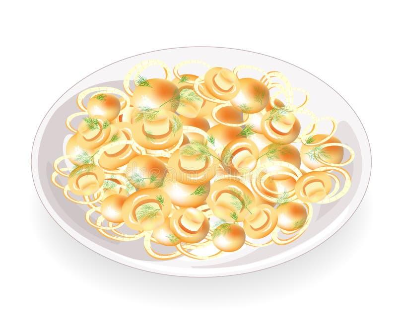 Paddestoelen met ui en dille die op een plaat wordt gebraden De champignons zijn heerlijke, dieet en voedzame bijgerechten voor v vector illustratie