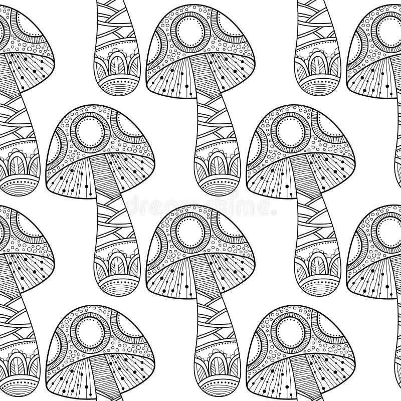 Paddestoelen Zwart-witte illustratie, naadloos patroon voor het kleuren van boek, pagina's stock illustratie
