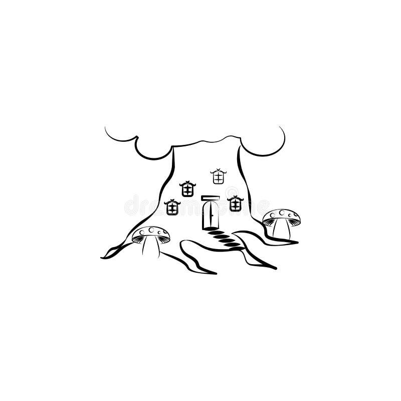 Paddestoelenhuis, Denkbeeldig huispictogram Element van hand getrokken Denkbeeldig huispictogram voor mobiele concept en webtoepa vector illustratie