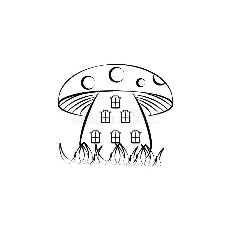 Paddestoelenhuis, Denkbeeldig huispictogram Element van hand getrokken Denkbeeldig huispictogram voor mobiele concept en webtoepa royalty-vrije illustratie
