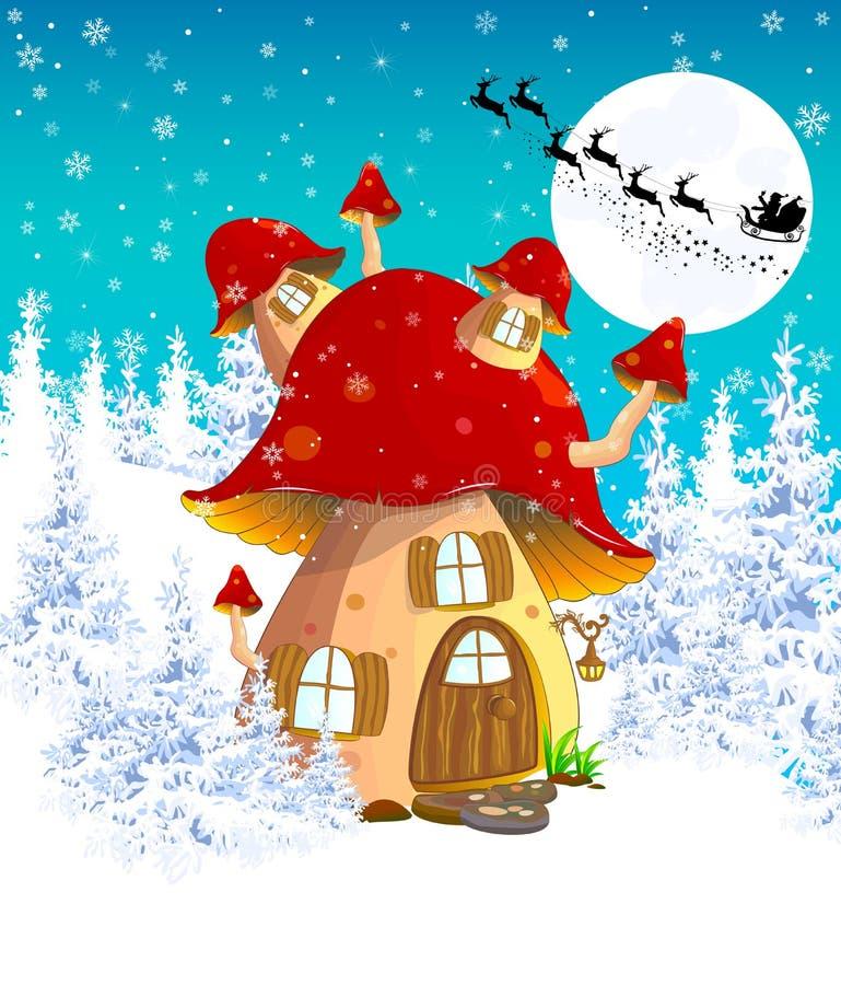 Paddestoelhuis in de winterbos 1 stock illustratie