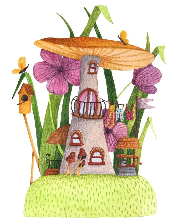 Paddestoelhuis met gras, bloemen, vlinder, het nestelen doos en goed vector illustratie