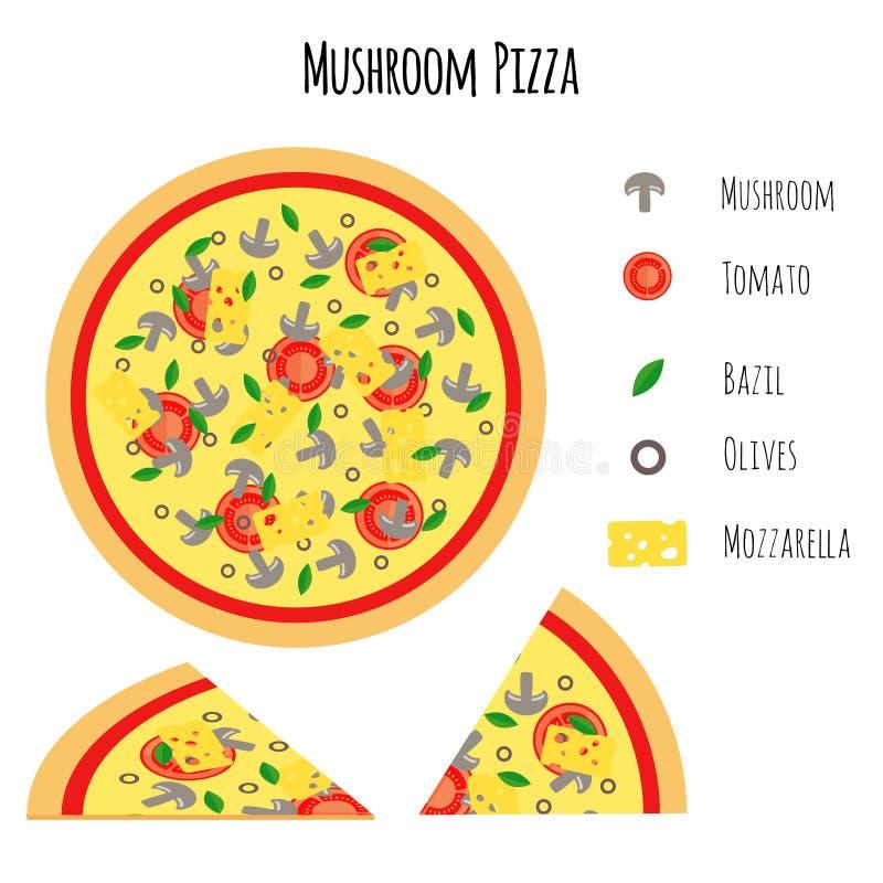 Paddestoelpizza met ingrediënten royalty-vrije illustratie