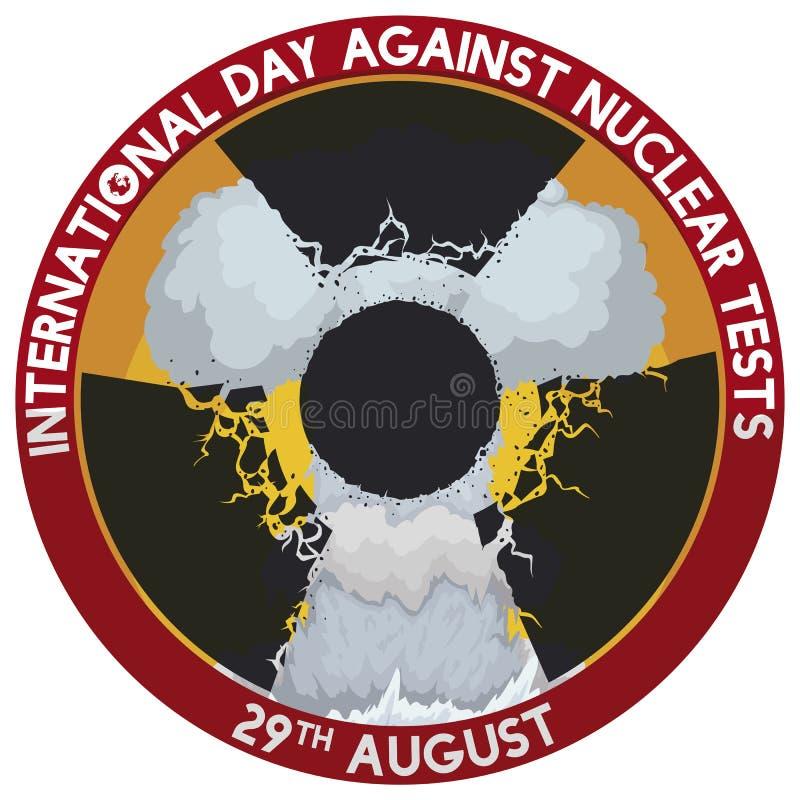 Paddestoelwolk met Stralingssymbool voor Dag tegen Kernproeven, Vectorillustratie stock illustratie
