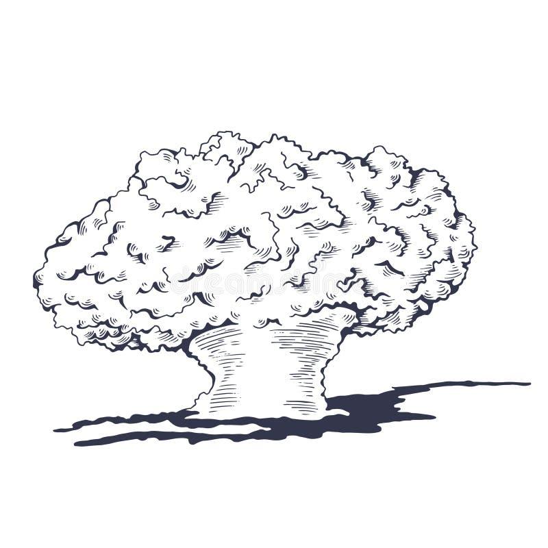 Paddestoelwolk van het atoom bombarderen vector illustratie
