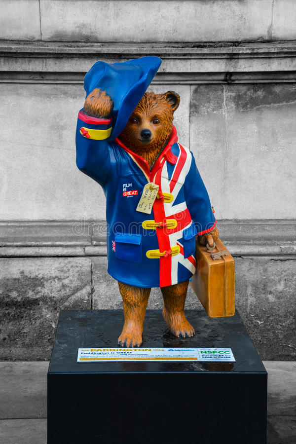Paddington Bear. A picture of the Paddington Bear statue - one of many that forms the paddington trail in London. A very iconic British Children's fictional stock photography