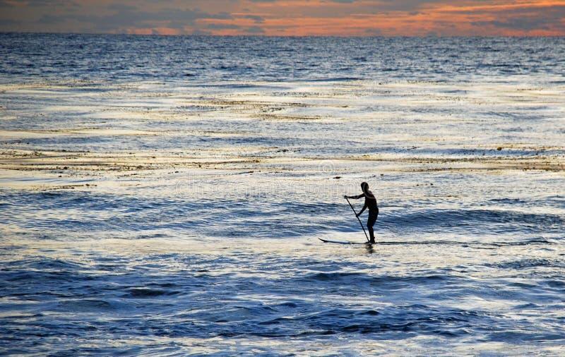 Paddla boarderen på solnedgången av den Laguna stranden, Kalifornien. royaltyfri foto
