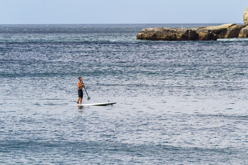 Paddle barding in the pacific stock images