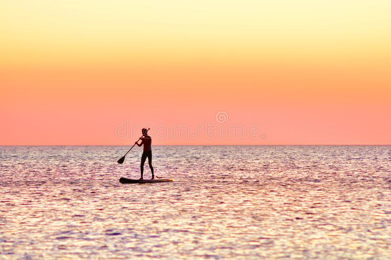 Paddle boarding at sunset. Silhouette of sup surf swimmer. On a quiet sea royalty free stock image