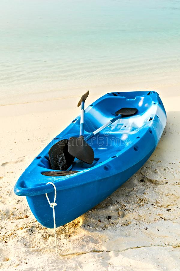 Paddle boat. Paddle blue boat is on sandy beach, Maldives royalty free stock images