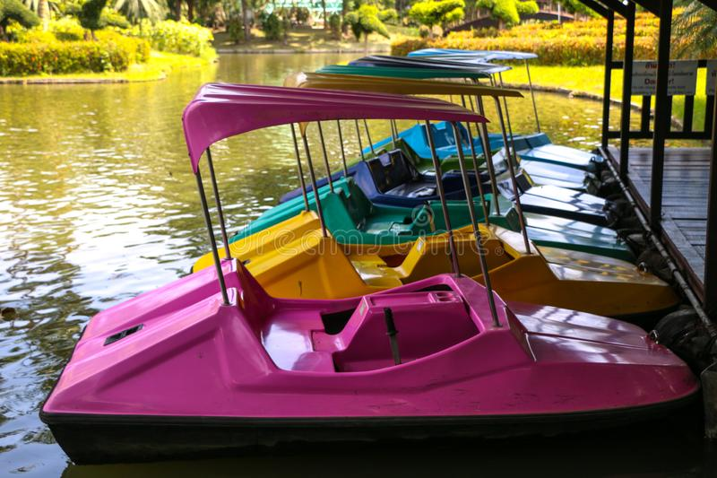 Paddle boat on river. Paddle boat in summer at thailand royalty free stock images