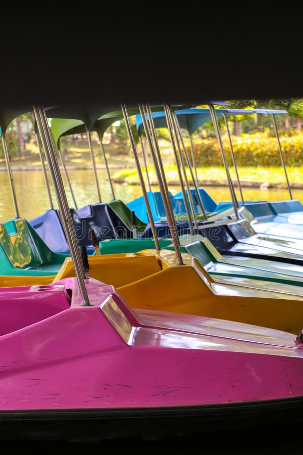 Paddle boat on river. Paddle boat in summer at thailand stock photography
