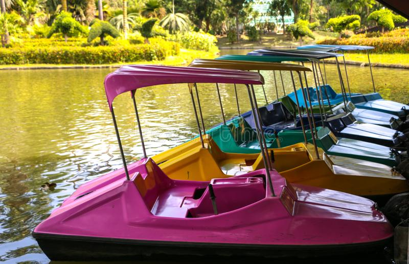 Paddle boat on river. Paddle boat in summer at thailand royalty free stock photo