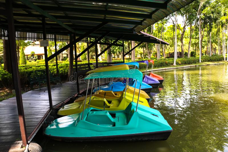 Paddle boat on river. Paddle boat in summer at thailand stock images