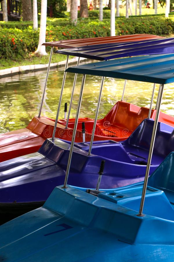 Paddle boat on river. Paddle boat in summer at thailand royalty free stock photos