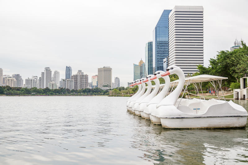 Paddle boat. Shaped swan shot from Queen Sirikit National Convention Center, Bangkok, Thailand stock photos