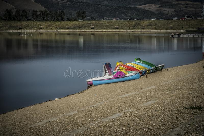 Paddle boats on a Lake royalty free stock images
