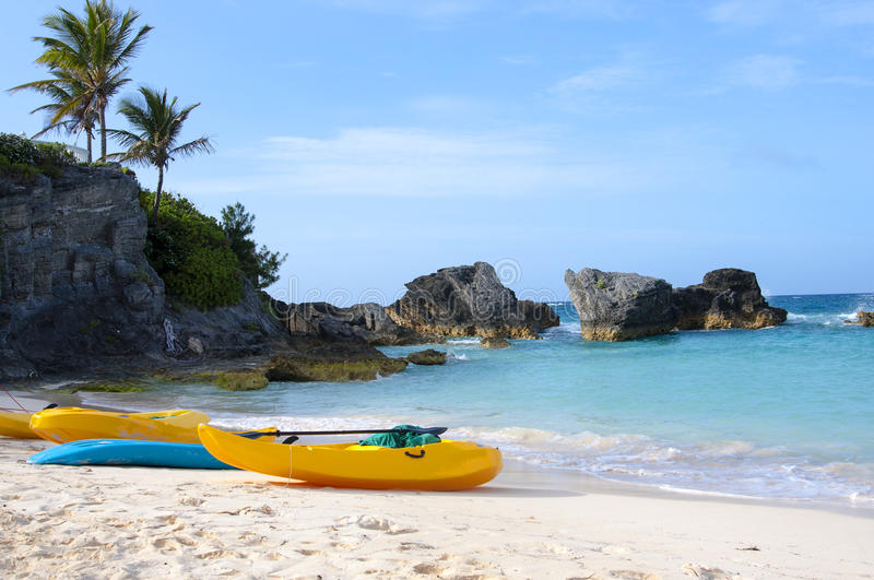 Paddle boats are on sandy beach of Bermuda royalty free stock images