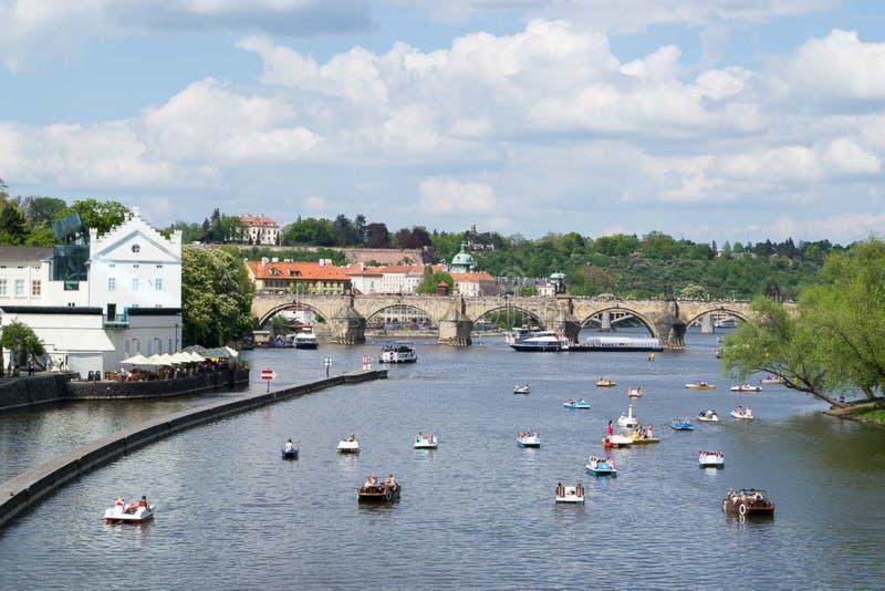 Paddle boats on Vltava river royalty free stock image