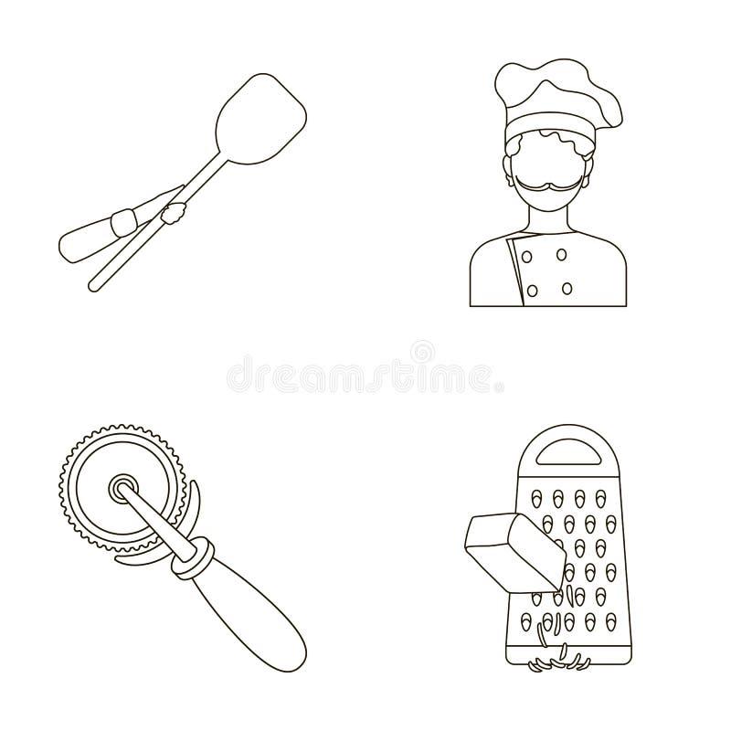 Paddle dla piekarnika, krajacz dla pizzy, kucharz, naciera ser Pizza i pizzeria ustawiać inkasowe ikony w konturze projektujemy ilustracji