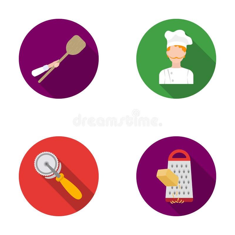 Paddle dla piekarnika, krajacz dla pizzy, kucharz, naciera ser Pizza i pizzeria ustawiać inkasowe ikony w mieszkaniu projektujemy royalty ilustracja