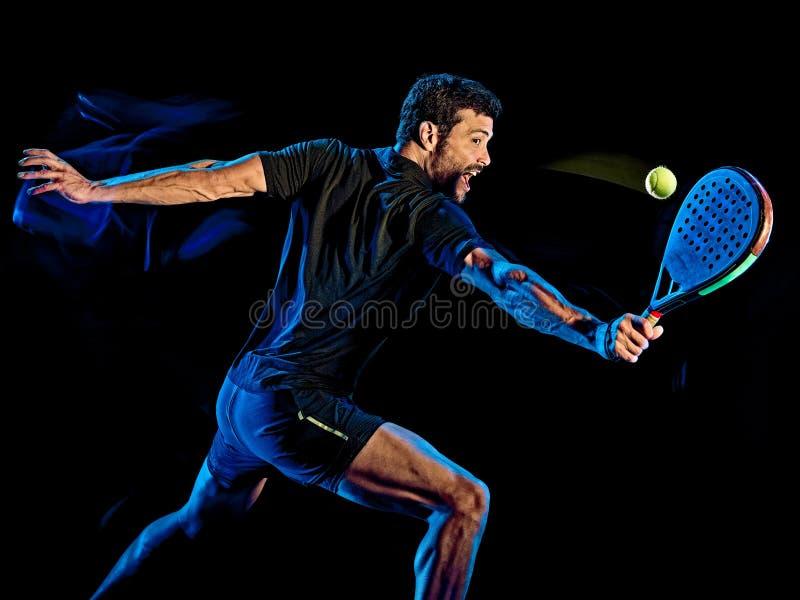 Paddle gracza w tenisa mężczyzny światło maluje czarnego tło obraz stock