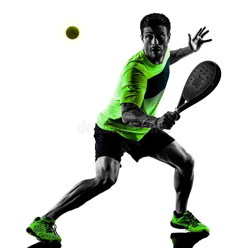 Paddle gracza w tenisa m??czyzny odosobniony bia?y t?o fotografia royalty free