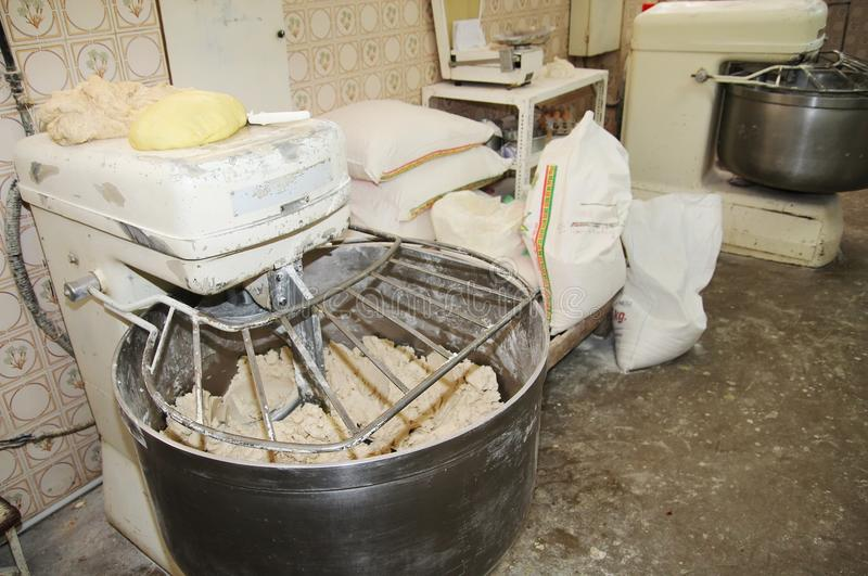Paddle mixer in a industrial bakery stock photography