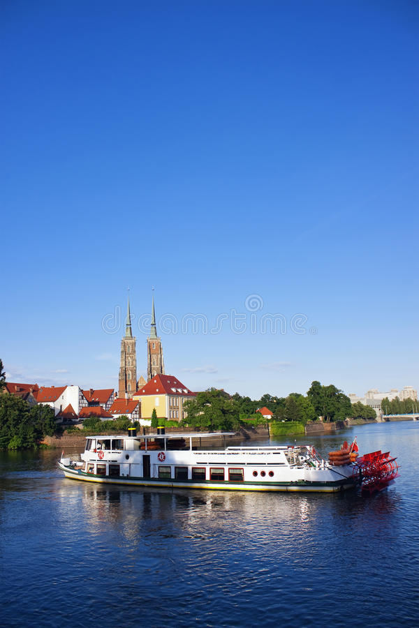 Paddle steamer ship on Odra river in Wroclaw stock photography