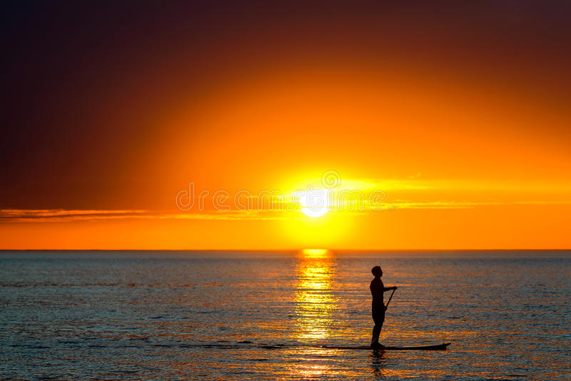 Paddle surfing man. Silhouette of a man paddle surfing at Henely Beach, South Australia royalty free stock photo