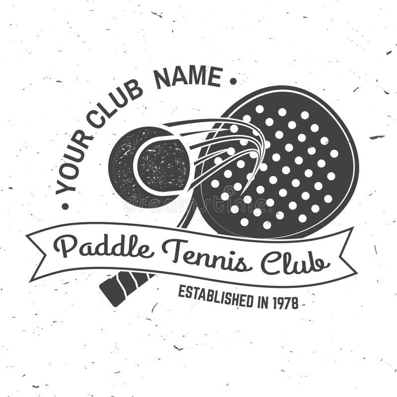 Paddle tennis sport club badge, emblem or sign. Vector illustration. royalty free illustration