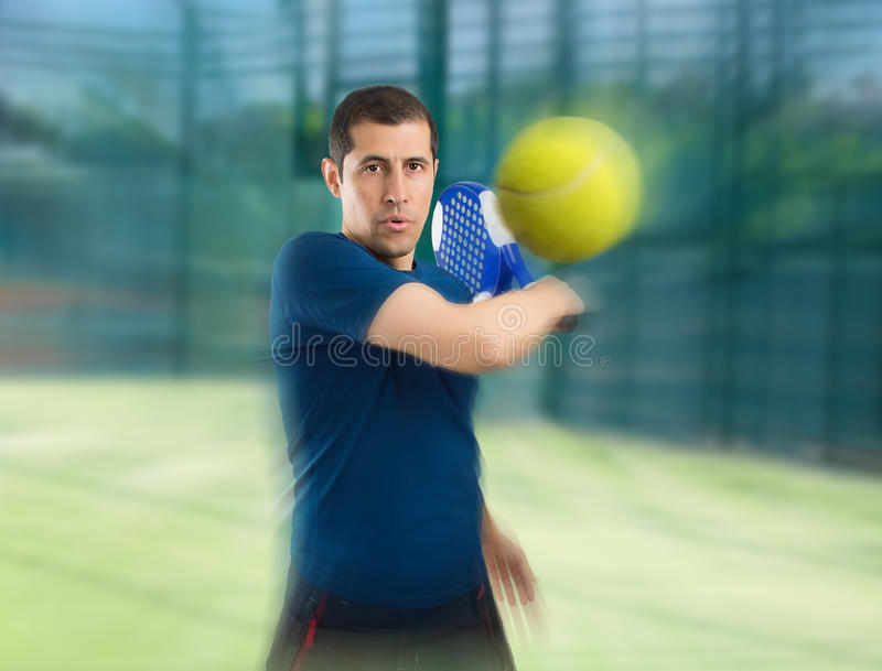 Paddle tennis with zoom effect stock images