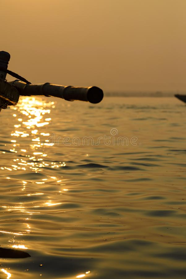 Paddle to the boat on the gang of Varanasi 2016 royalty free stock image