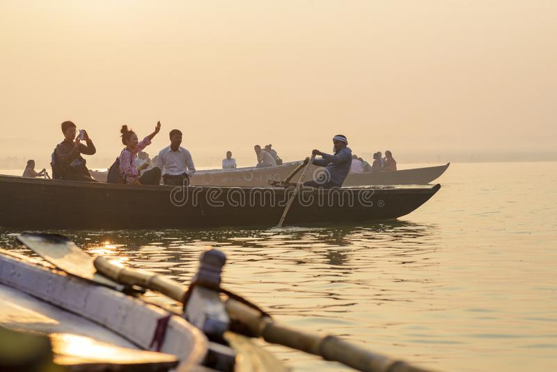 Paddle to the boat on the gang of Varanasi. India stock photography