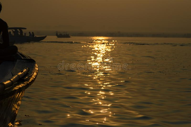 Paddle to the boat on the gang of Varanasi. India royalty free stock image
