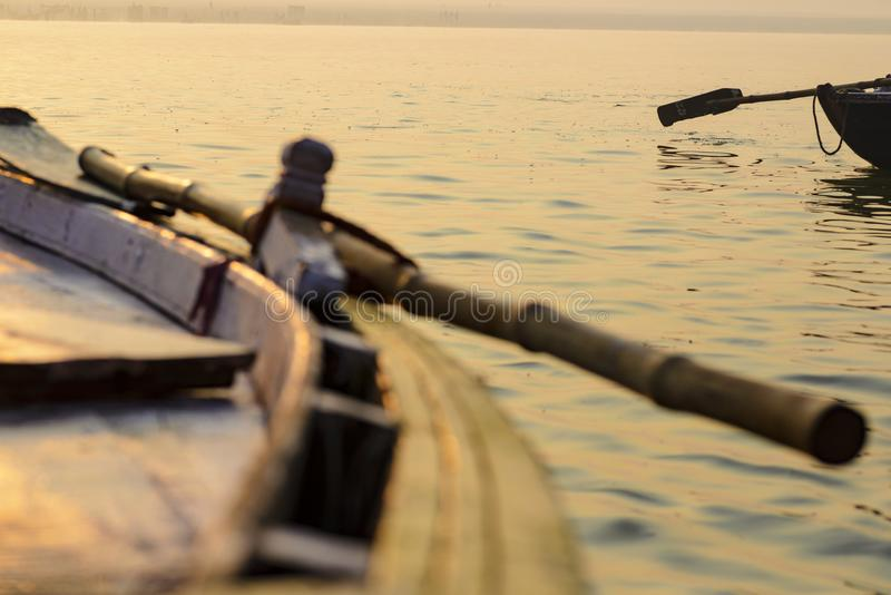 Paddle to the boat on the gang of Varanasi. India stock images