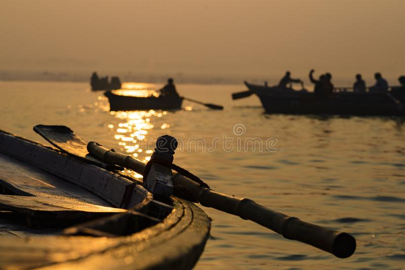 Paddle to the boat on the gang of Varanasi. India royalty free stock photography