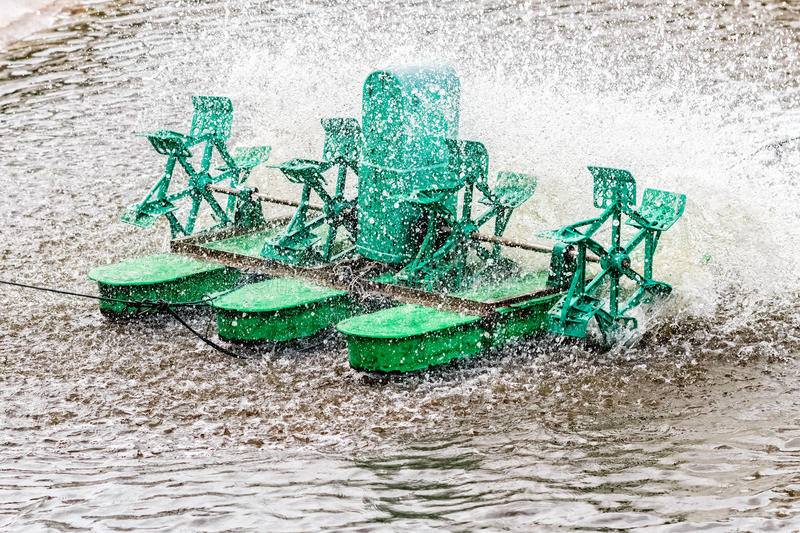 Paddle wheel aerator, Closeup royalty free stock photography