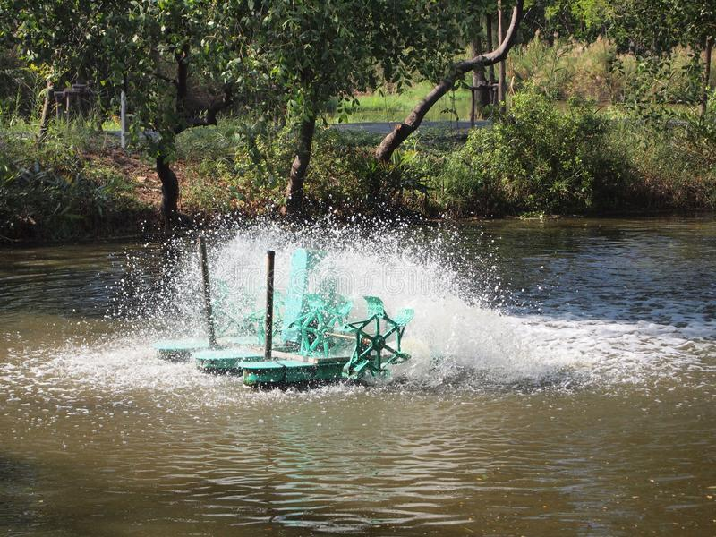 Paddle Wheel Aerator for oxygen to the water. Close up royalty free stock photography
