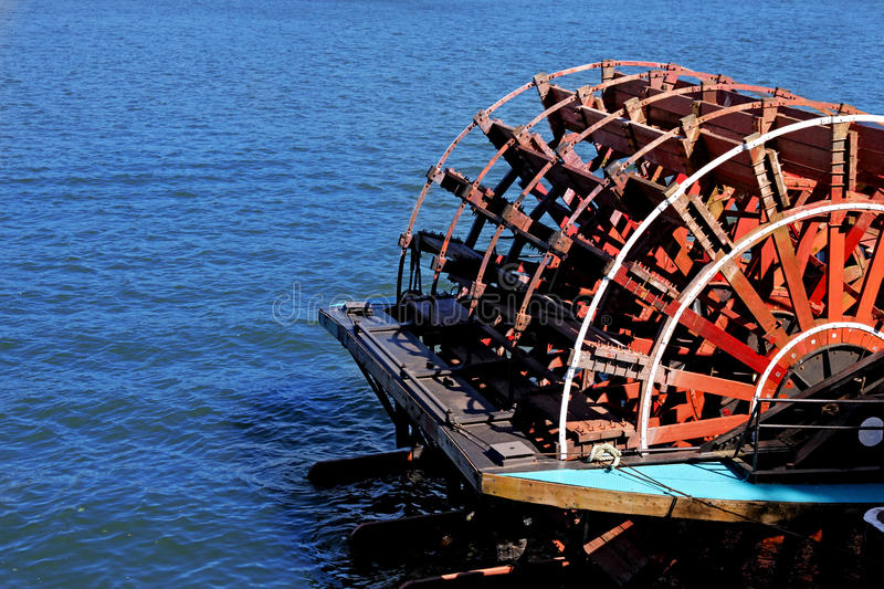 Paddle wheel on boat. A paddle wheel on a boat stock image