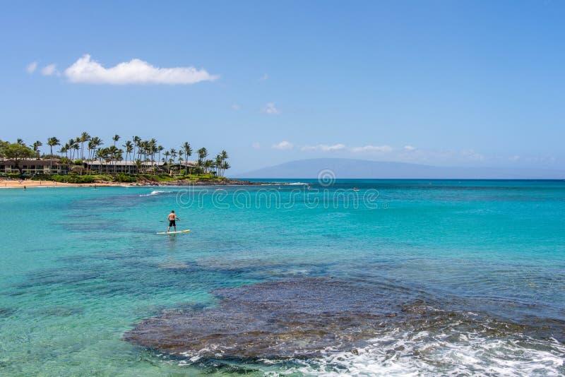 Paddleboarder en la bahía Lahaina Maui Hawaii de Napili fotografía de archivo