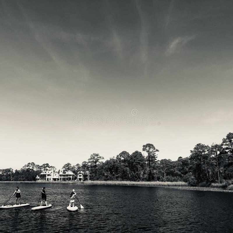 Paddleboarders bij Waterverftoevlucht stock foto
