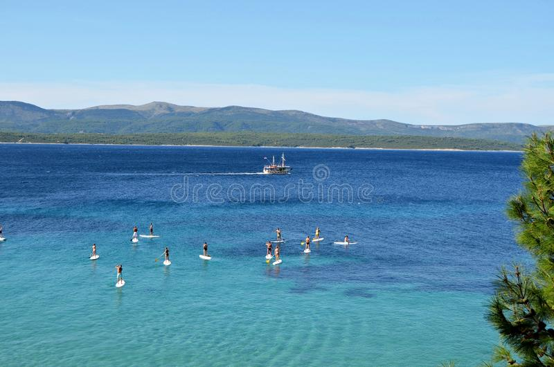 Paddleboarding - Bol Croatia stock photography