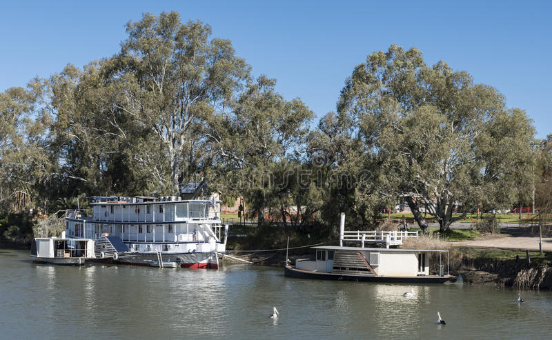 Paddleboat on Murray River, Mildura, Australia. The paddle boat Coonawarra moored on the peaceful waters of the River Murray, Mildura, Australia royalty free stock photography