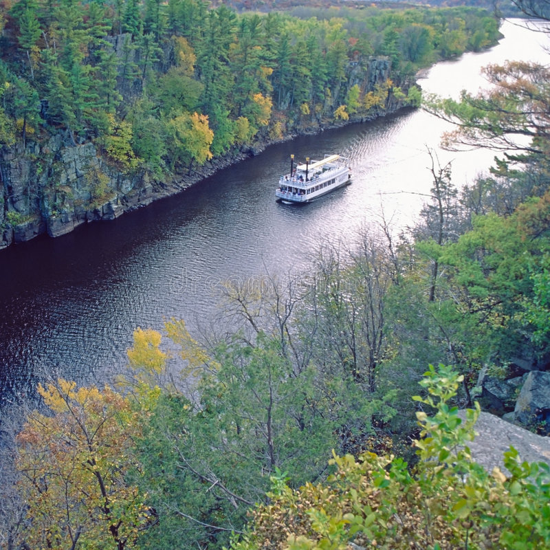Paddleboat st croix river sq stock photo