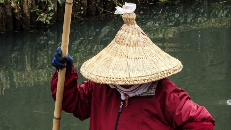 Paddler da cidade de Sawara fotos de stock royalty free