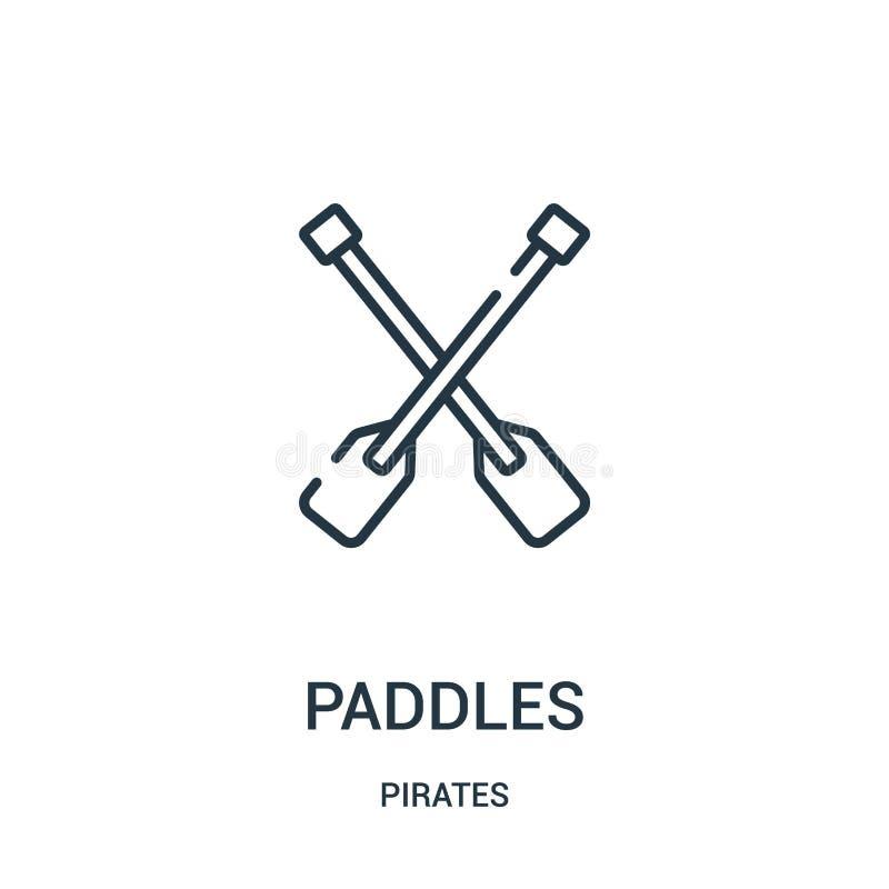 paddles ikona wektor od piratów inkasowych Cienka kreskowa paddles konturu ikony wektoru ilustracja Liniowy symbol dla używa na s royalty ilustracja