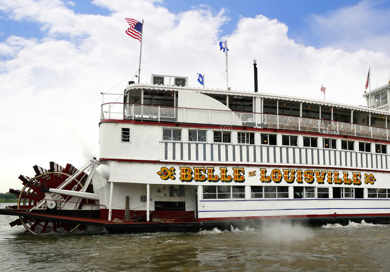 Paddlesteamer Riverboat on the River Ohio in Louisville Kentucky. Take an evening cruise on the Ohio River royalty free stock photos