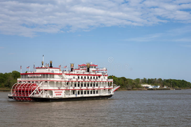 Paddlewheel Boat Cruise on Savannah River. Savannah, GA - March 27, 2017: The Georgia Queen is an 1800s style paddlewheel riverboat and tourist attraction in stock photography