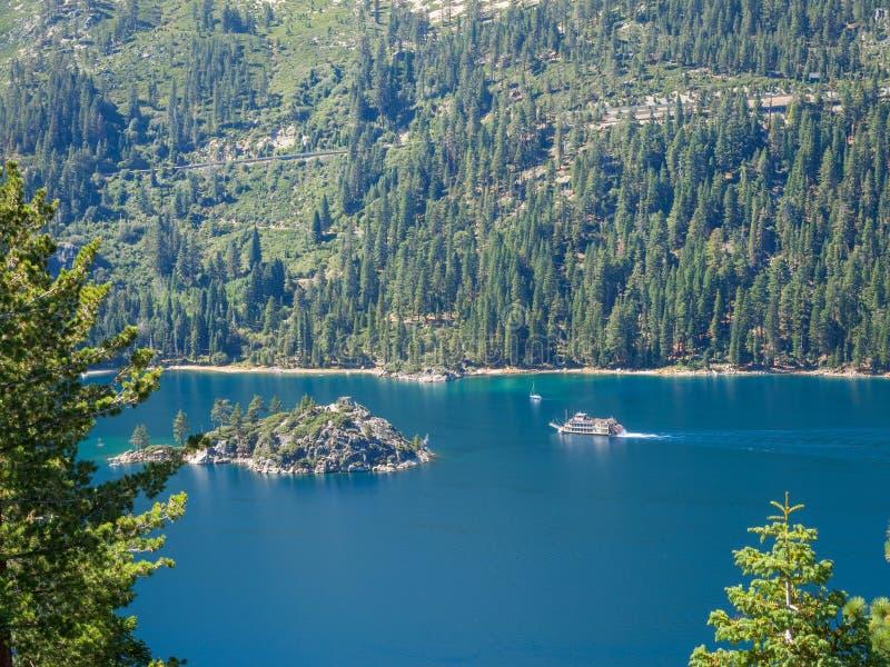 Paddlewheel Boat, Lake Tahoe. Paddlewheel boat, Emerald Bay in Lake Tahoe royalty free stock photos